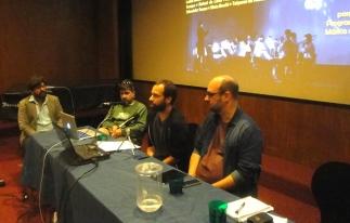 """Alexandre Brasil, André Luiz Gonçalves de Oliveira, Fernando Morais da Costa (""""Vozes e silêncios no cinema contemporâneo."""") e Andreson Carvalho."""